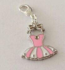 PINK AND SILVER DRESS - 3D - CLIP ON CHARM FOR BRACELETS - SILVER PLATE - NEW