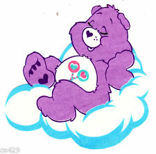 """5"""" CARE BEARS ON A CLOUD  FRIEND GLOW IN THE DARK FABRIC APPLIQUE IRON ON"""