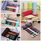 Various Pattern Canvas Roll UP Pen Holder Pouch Pencil Case Make UP Storage Bag
