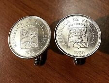 Vintage Venezuela Coat of Arms White Horse Silver Tone Coin Cufflinks + Gift Box