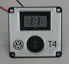 VW T4 volt metre digital on off switch  brushed stainless effect mount FREE P+P