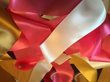 4 x 1 Metre Lengths of  Assorted Colours WIDE SATIN RIBBON 70MM OFF CUTS BUNDLE