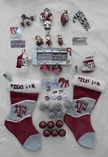 Lot of 38 Texas A&M University Aggie Christmas Holiday Ornaments + 2 Stockings