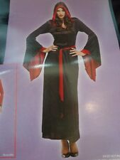 NWT New Women's Halloween Costume Midnight Spell Wizard Red Black Robe SZ Med