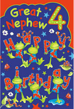 Great Nephew 4th 4 Today Dancing Frogs Worm Ladybird Design Happy Birthday Card