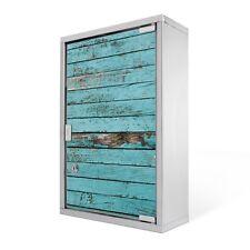 Abschliessbarer Edelstahl Medizinschrank mit Glastür Motiv Blaue Holzlatten