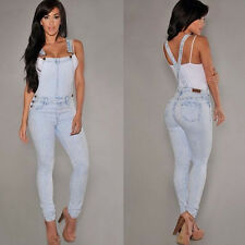 Womens Ladies Jeans Overall Casual Romper Vintage Washed Denim Jumpsuit Playsuit