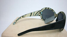 WOMEN SUNGLASSES Funky Black Striped Large Frame BRAND NEW W/TAG +Nylon Protect