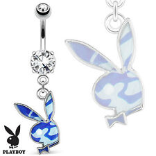 Authentic Playboy Bunny Blue Camouflage Surgical Steel Dangle Belly Navel Ring