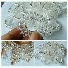 "6x Clear White SPIRAL SLINKY HAIR HEAD BANDS ponytail elastics girl kid (1.5"")"