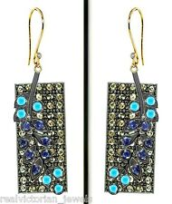 MARVELOUS ROSE CUT DIAMOND,SAPPHIRE,TURQUOISE GOLD SILVER VINTAGE STYLE EARRING