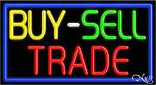 """BRAND NEW """"BUY-SELL TRADE"""" 37x20 W/BORDER REAL NEON SIGN w/CUSTOM OPTIONS 11057"""