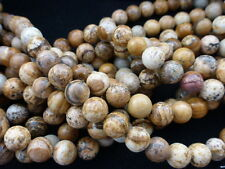 Natural Picture Jasper Round Beads 8mm - 15.5 Inch Strand (Approx. 46 Beads)