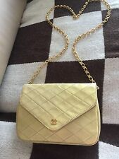 AUTH VINTAGE CHANEL GOLD QUILTED LEATHER SINGLE FLAP SINGLE STRAP GOLD CC PURSE