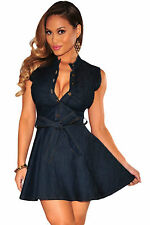 Abito Gonna Top aderente jeans Bottoni Scollo Fiocco Midi Denim Skater Dress M