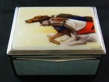 1927 HALLMARKED SILVER HAND PAINTED ENAMEL GREYHOUND TOBACCO BOX