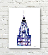 Chrysler Building Abstract Watercolor Painting New York Art Print by Artist DJR