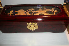 Handmade Oblong Wooden Chinese Lacquer Jewellery Box, & Cork Carving~uk seller