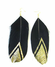 Long Black Gold Glitter Feather Earrings Large Boho Festival Vintage Hook 854
