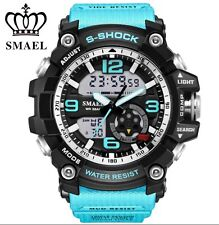 UK Mens  Smael Tactical Dual Display shock Digital  Sports Divers Watch In Blue