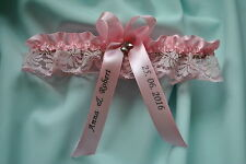 Baby pink lace wedding garter / PERSONALISED bridal- two hearts