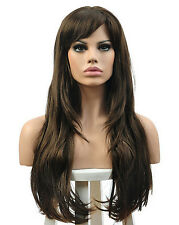 Women's Curly Heat Resistant Hair Wig Cosplay Costume Wavy Long Wigs Brown New