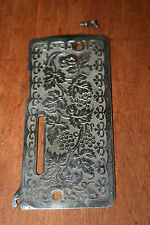 Vintage Singer Sewing Machine Part End Face Plate w/  Flower Scroll Pattern Long