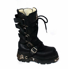 NEW ROCK REACTOR Black Leather Boots EU 39 /US 8.5/ UK 6