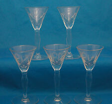 Set of FIVE (5) Acid Etched Cordial Shot Glasses MPL MPC Fine Crystal Shooters