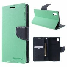Korean Mercury Fancy Diary Wallet Case Cover for Sony Xperia C4 Green