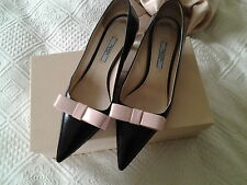 Prada black leather shoes with pink bow size 4