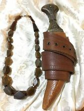 Ancient and rare,precious Horn bead necklace,traditional Dagger and leather belt