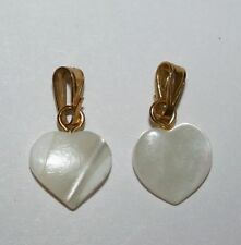 2 Cute Mother of Pearl Sea Shell Seashell Small White pendant Charm Gold Tn. Lot