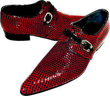CHELSY UNUSUAL SNAKE MEN'S SHOE SLIPPERS CALF LEATHER RED LEATHER SOLE 44