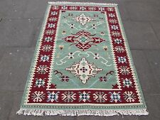 Old Traditional Hand Made Oriental Indian Kilim Green Red Wool Kilim 180x125cm