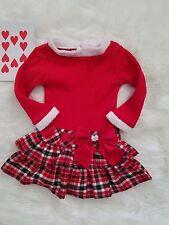 Jenny & Me Toddler Girl's Dress 2T Winter Christmas Red White Plaid Skirt Bow