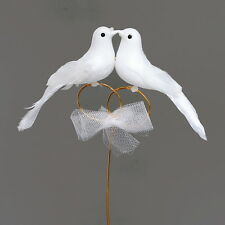 Dove pair on Rings On Wire, 18cm x 11cm, Wedding