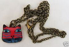 COLOURFUL CAT DARK PINK AND BLUE PENDANT ON A BRONZED TONE 44CM CHAIN