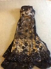 Ladies Size 12 Mon Cheri Black Sequined Lace & Cream Satin Formal Gown