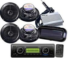New Pyle PLMR86B Marine Boat Stereo MP3 Radio 4 Pyle Speakers + 400W Amp & Cover