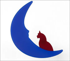FRENCH DESIGNER FIGURAL BLUE CAT ON THE MOON PET BROOCH PIN RESIN PARIS