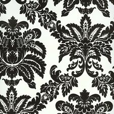 WALLPAPER BY THE YARD BC1580982, DS106622 Black and White Damask Wallpaper