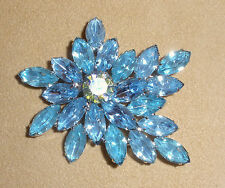 D&E Juliana Blue Topaz Rhinestone Pin in Spray Design