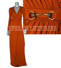 $2,500 GUCCI GOWN HORSEBIT DETAIL V-NECKLINE JERSEY LONG DRESS XS / EXTRA SMALL