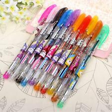 10x Assorted Colours Shine Glitter Sparkled Gel Pens With Case School Stationary