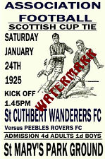 ST Cuthbert Wanderers-vintage anni 1920 stile MATCH POSTER