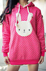 NEW Womens Japanese Fashion Kawaii Cute Polka Dot Bunny Rabbit Hoodie Sweater