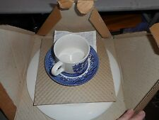 NIB Churchill England Blue Willow 3 Piece Set Dinner Plate/Cup/ Saucer 070215