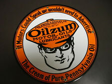 OILZUM OIL OF WORCESTER, MA. PORCELAIN METAL SIGN MINT COND. 12'' ROUND