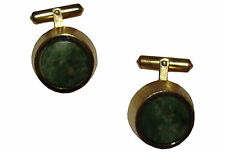 Christian Dior Gold & Jade Cuff Links